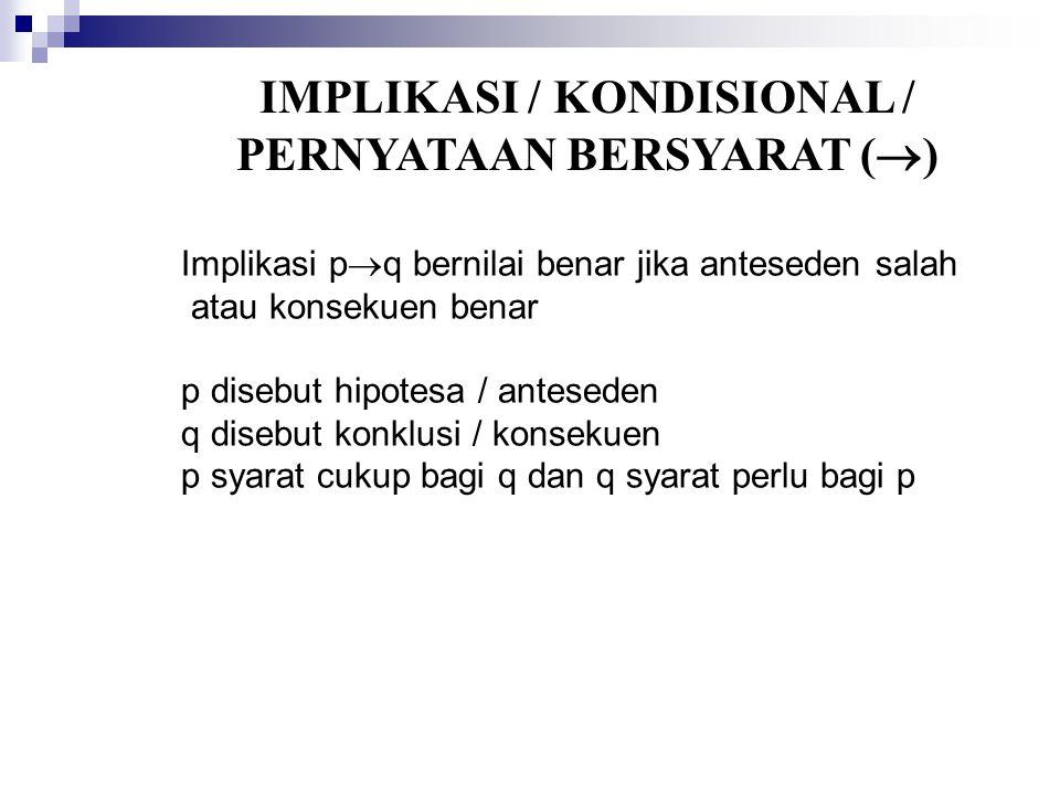IMPLIKASI / KONDISIONAL / PERNYATAAN BERSYARAT ()