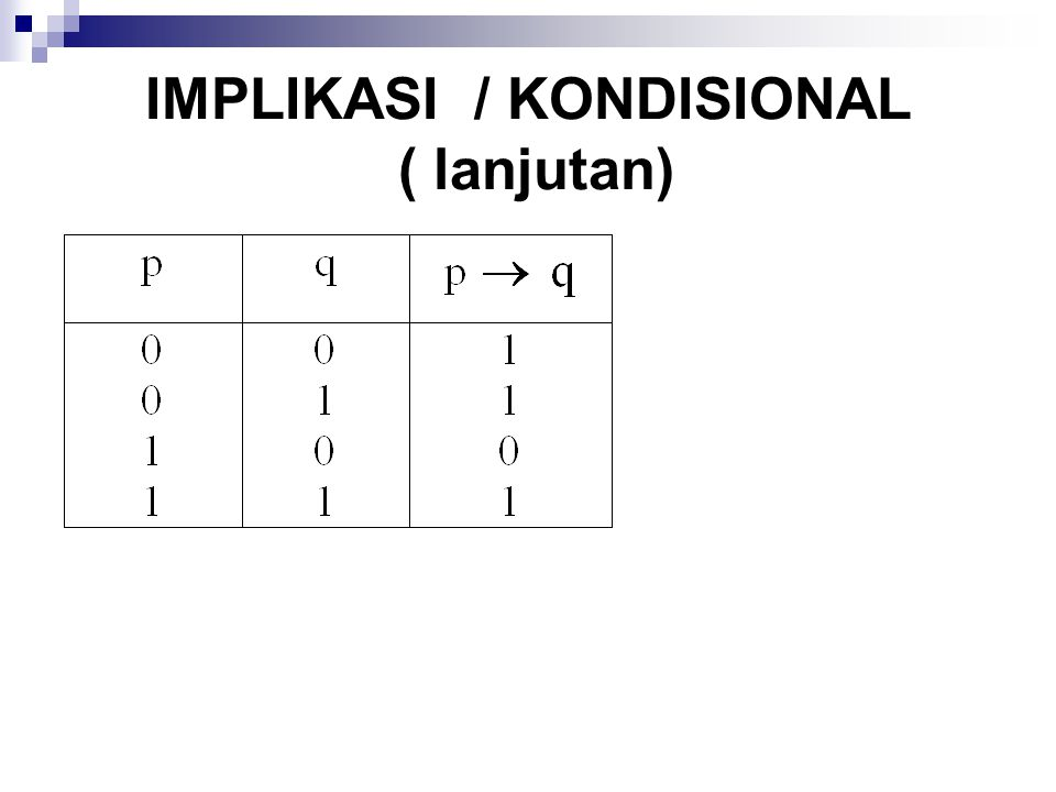 IMPLIKASI / KONDISIONAL ( lanjutan)