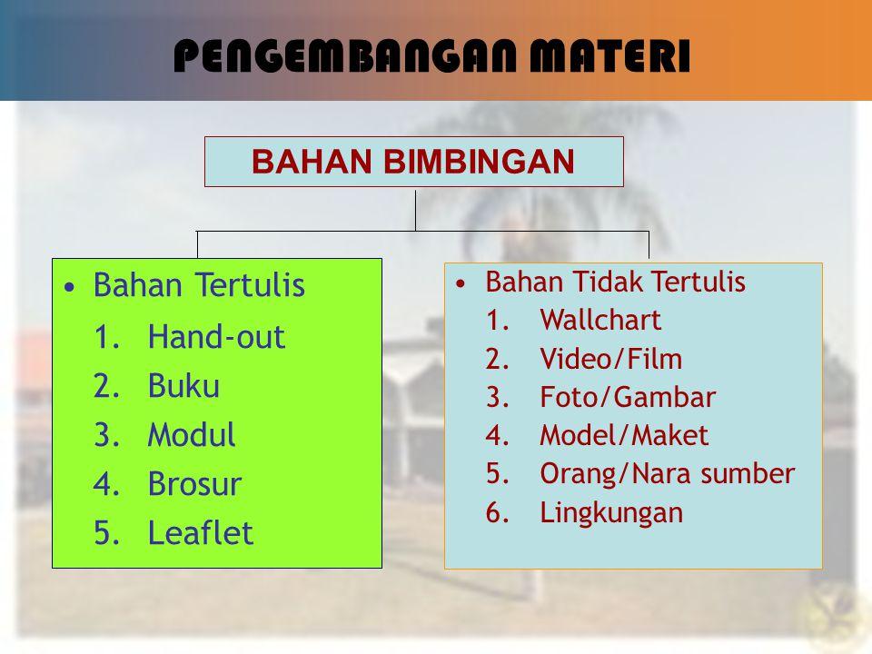 PENGEMBANGAN MATERI BAHAN BIMBINGAN Bahan Tertulis 1. Hand-out 2. Buku