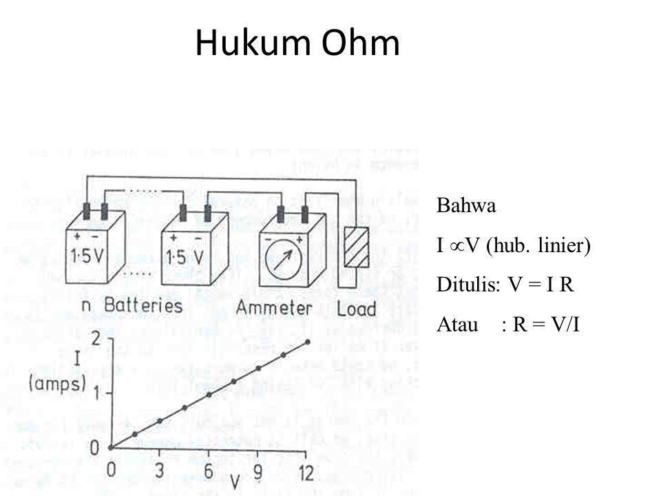 Hukum Ohm Bahwa I V (hub. linier) Ditulis: V = I R Atau : R = V/I