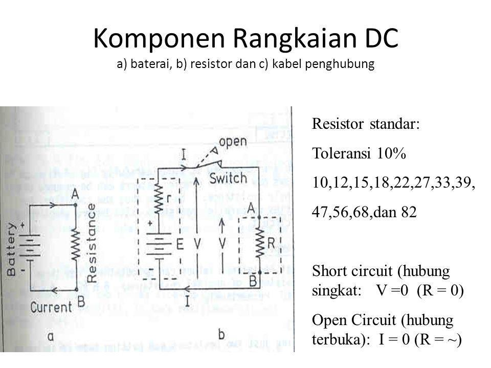 Komponen Rangkaian DC a) baterai, b) resistor dan c) kabel penghubung