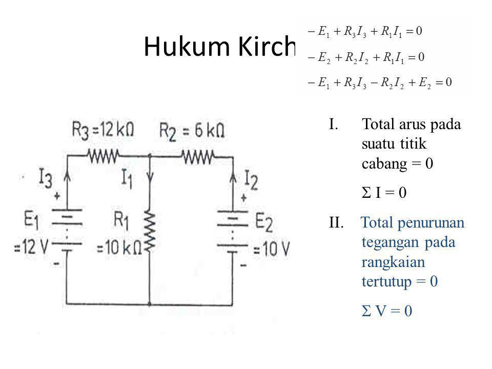 Hukum Kirchhoff Total arus pada suatu titik cabang = 0  I = 0