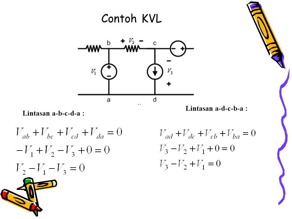 Contoh KVL Lintasan a-d-c-b-a : Lintasan a-b-c-d-a :