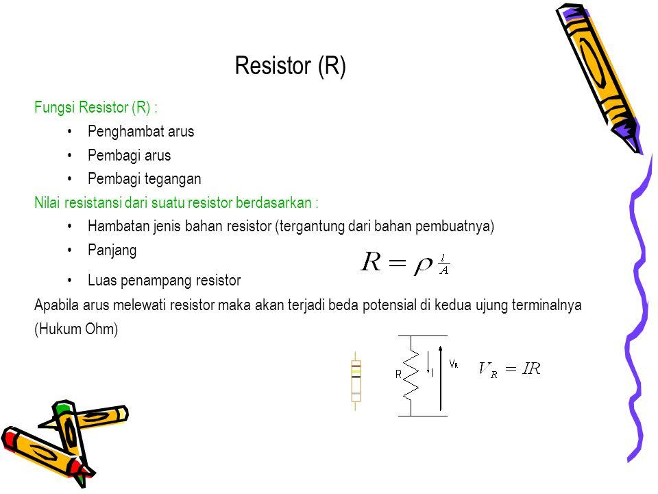 Resistor (R) Fungsi Resistor (R) : Penghambat arus Pembagi arus