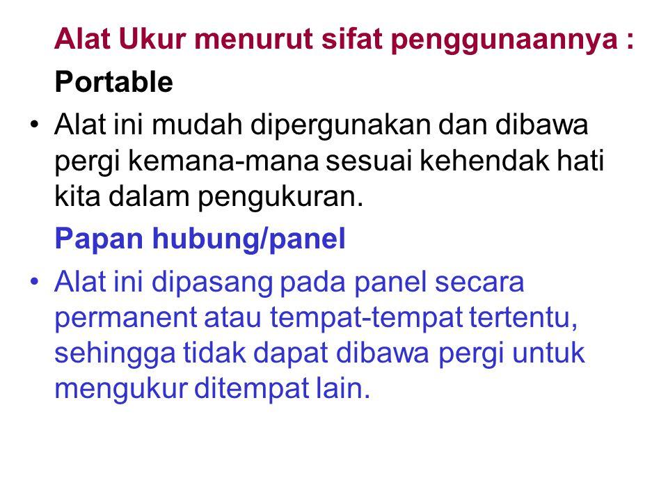 Alat Ukur menurut sifat penggunaannya :