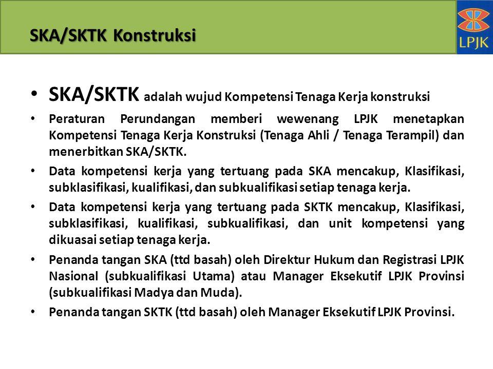 SKA/SKTK adalah wujud Kompetensi Tenaga Kerja konstruksi