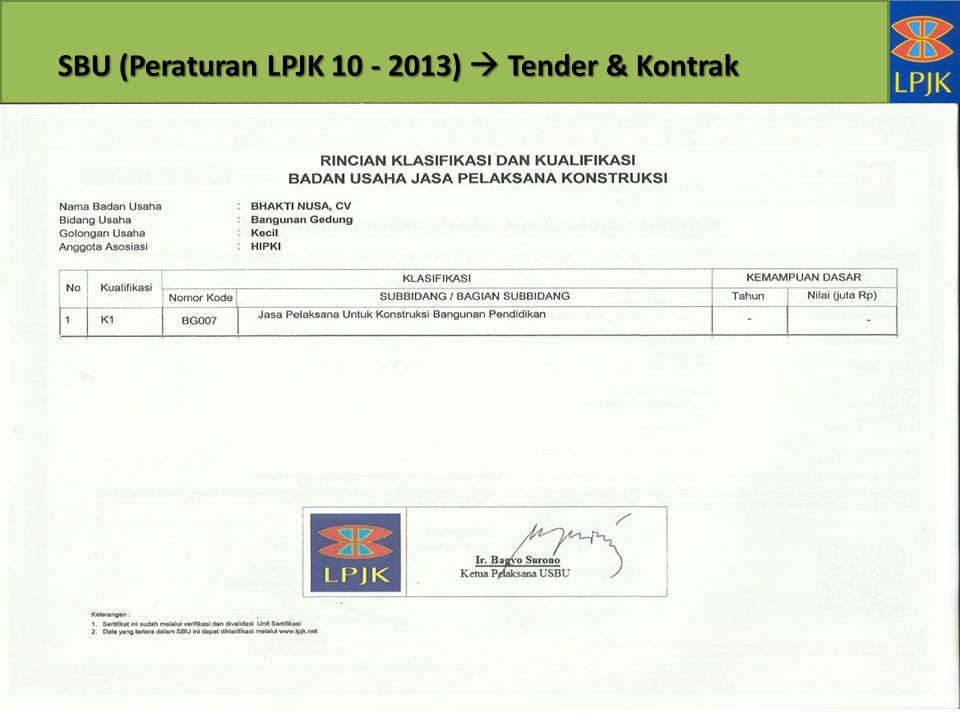 SBU (Peraturan LPJK 10 - 2013)  Tender & Kontrak