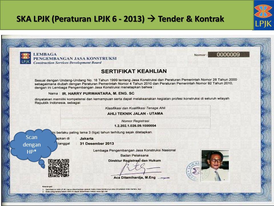 SKA LPJK (Peraturan LPJK 6 - 2013)  Tender & Kontrak