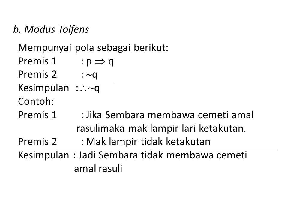 b. Modus Tolfens Mempunyai pola sebagai berikut: Premis 1 : p  q. Premis 2 : q. Kesimpulan :q.