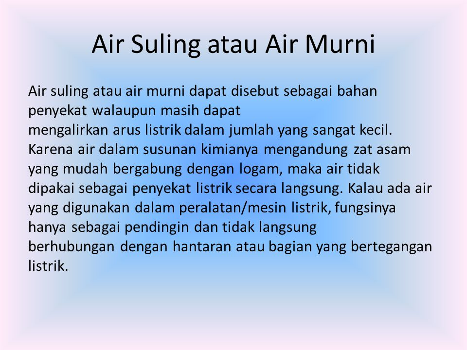 Air Suling atau Air Murni