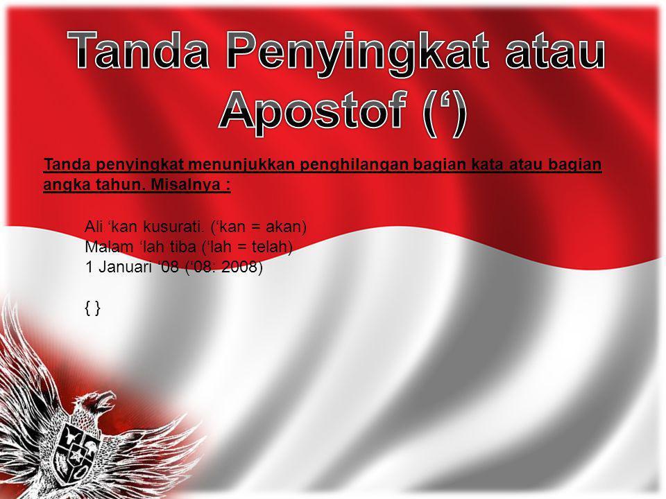 Tanda Penyingkat atau Apostof (')