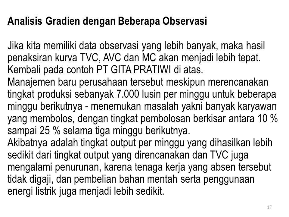 Analisis Gradien dengan Beberapa Observasi