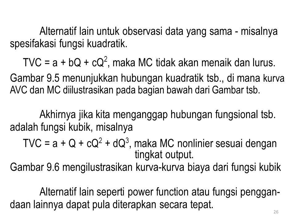 Alternatif lain untuk observasi data yang sama - misalnya spesifakasi fungsi kuadratik.