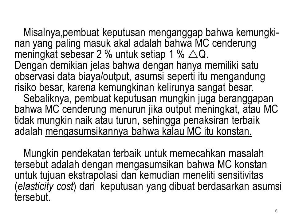 Misalnya,pembuat keputusan menganggap bahwa kemungki-nan yang paling masuk akal adalah bahwa MC cenderung meningkat sebesar 2 % untuk setiap 1 % Q.