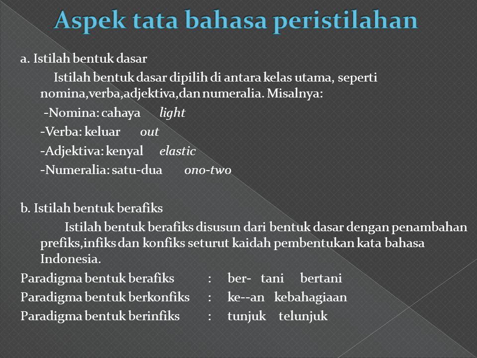 Aspek tata bahasa peristilahan