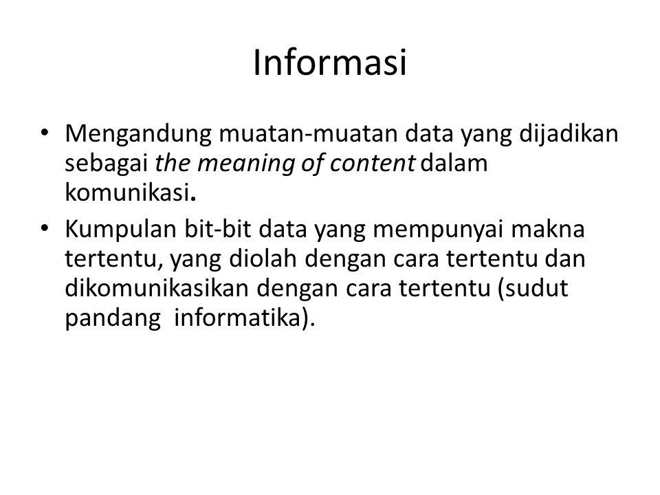 Informasi Mengandung muatan-muatan data yang dijadikan sebagai the meaning of content dalam komunikasi.