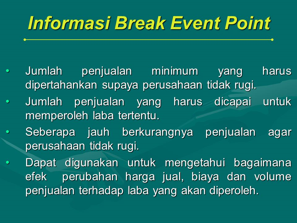 Informasi Break Event Point