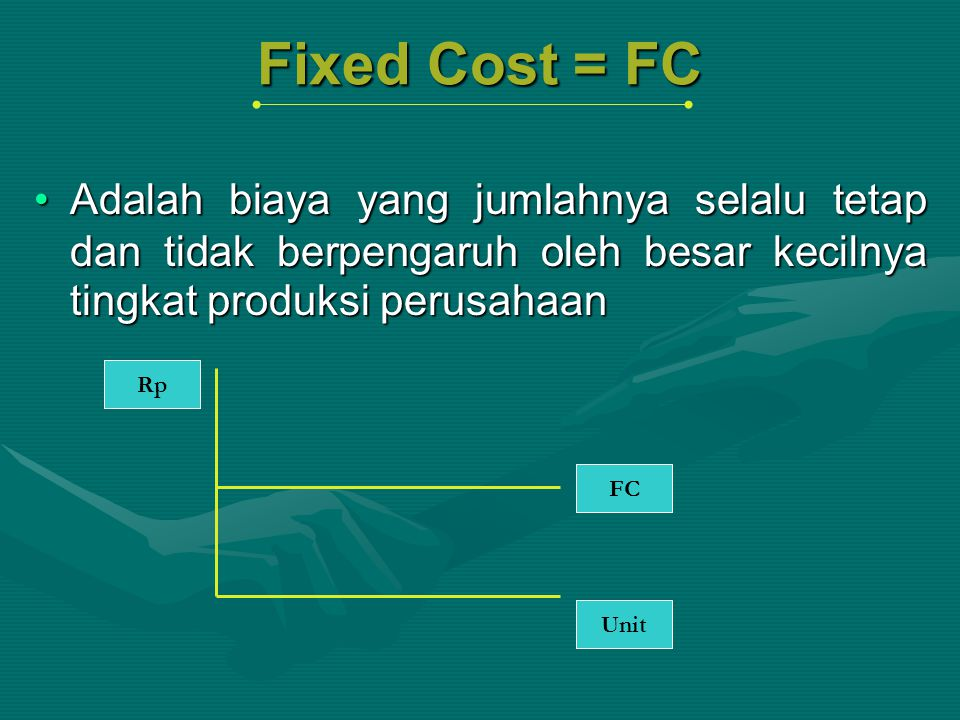 Fixed Cost = FC Adalah biaya yang jumlahnya selalu tetap dan tidak berpengaruh oleh besar kecilnya tingkat produksi perusahaan.
