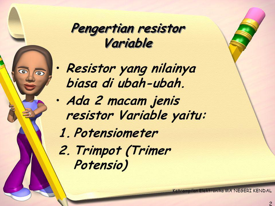 Pengertian resistor Variable