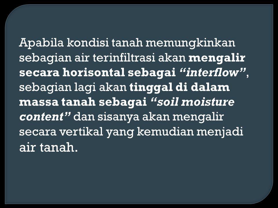 Apabila kondisi tanah memungkinkan sebagian air terinfiltrasi akan mengalir secara horisontal sebagai interflow , sebagian lagi akan tinggal di dalam massa tanah sebagai soil moisture content dan sisanya akan mengalir secara vertikal yang kemudian menjadi air tanah.