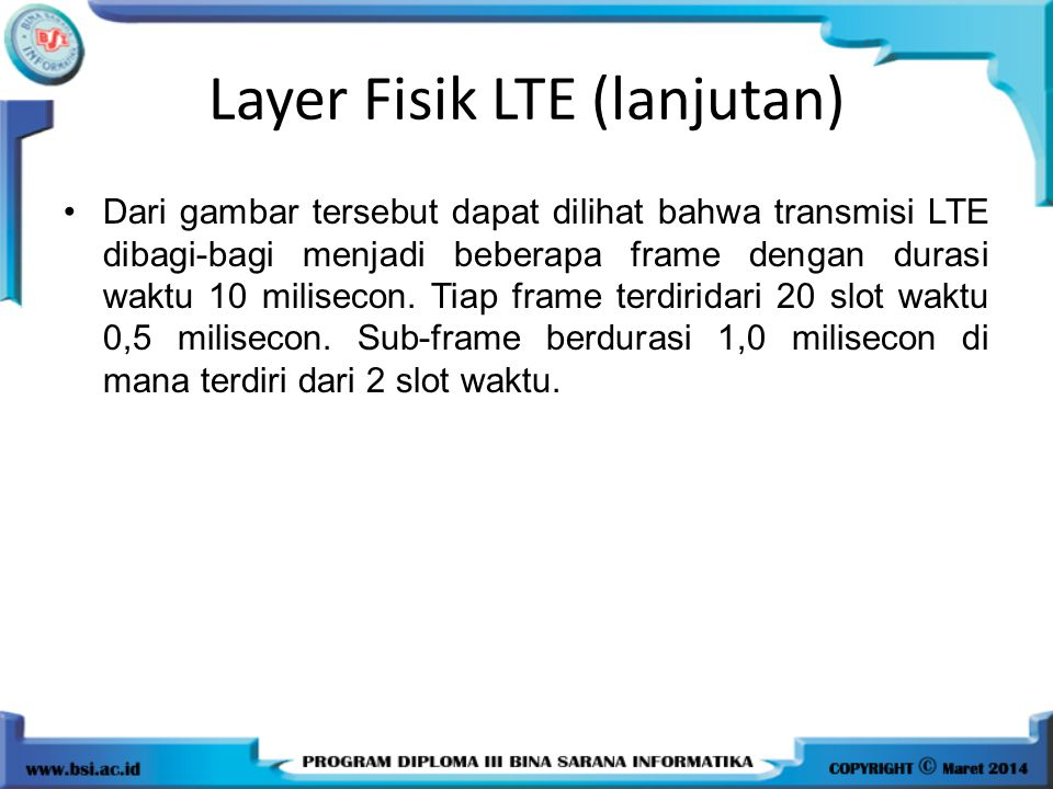 Layer Fisik LTE (lanjutan)