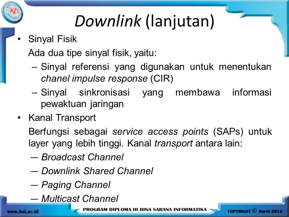 Downlink (lanjutan) Sinyal Fisik Ada dua tipe sinyal fisik, yaitu: