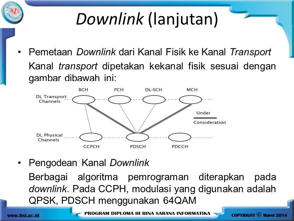 Downlink (lanjutan) Pemetaan Downlink dari Kanal Fisik ke Kanal Transport. Kanal transport dipetakan kekanal fisik sesuai dengan gambar dibawah ini: