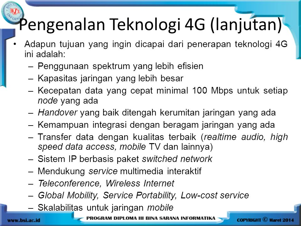 Pengenalan Teknologi 4G (lanjutan)