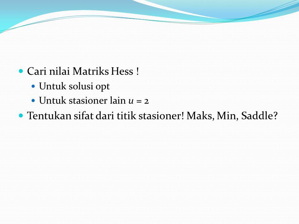 Cari nilai Matriks Hess !