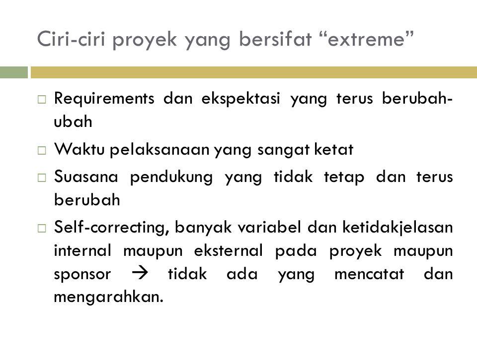 Ciri-ciri proyek yang bersifat extreme