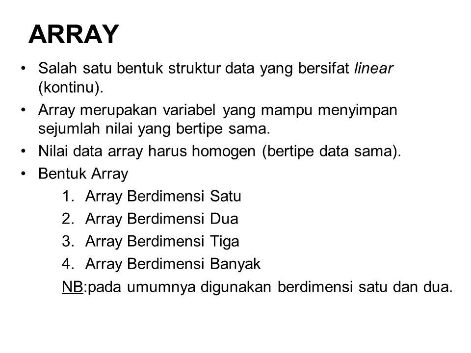 ARRAY Salah satu bentuk struktur data yang bersifat linear (kontinu).