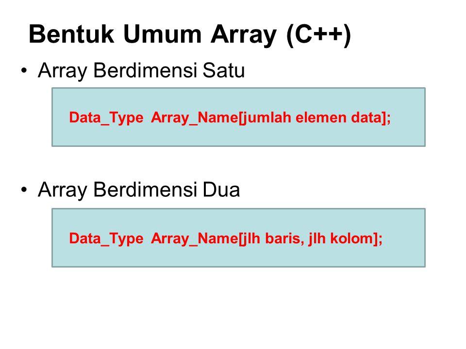Bentuk Umum Array (C++)