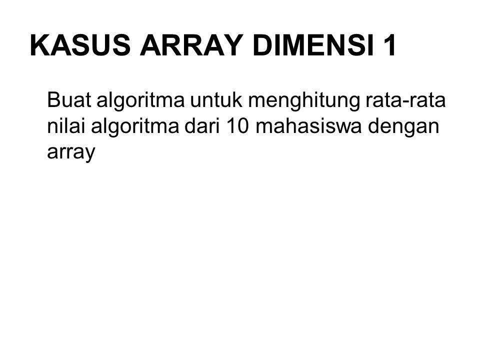 KASUS ARRAY DIMENSI 1 Buat algoritma untuk menghitung rata-rata nilai algoritma dari 10 mahasiswa dengan array.
