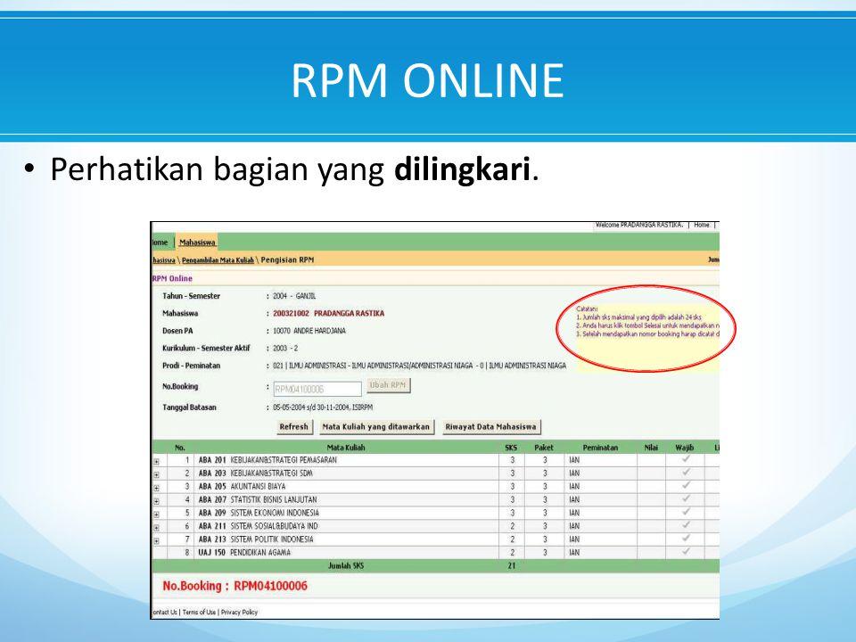 RPM ONLINE Perhatikan bagian yang dilingkari.