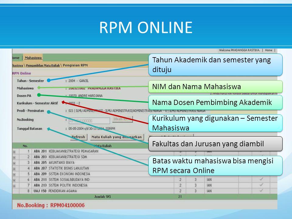 RPM ONLINE Tahun Akademik dan semester yang dituju