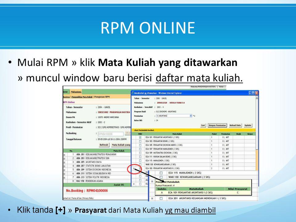 RPM ONLINE Mulai RPM » klik Mata Kuliah yang ditawarkan