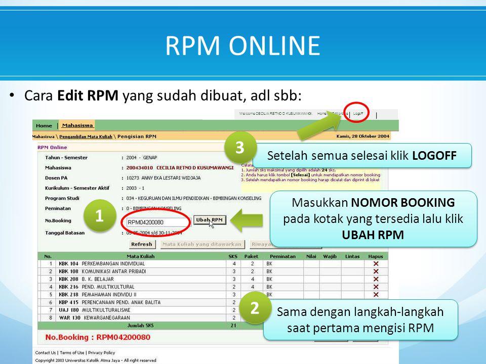 RPM ONLINE 3 1 2 Cara Edit RPM yang sudah dibuat, adl sbb: