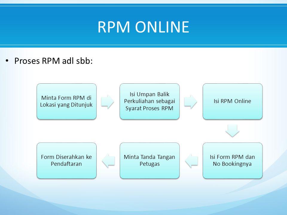 RPM ONLINE Proses RPM adl sbb: Minta Form RPM di Lokasi yang Ditunjuk