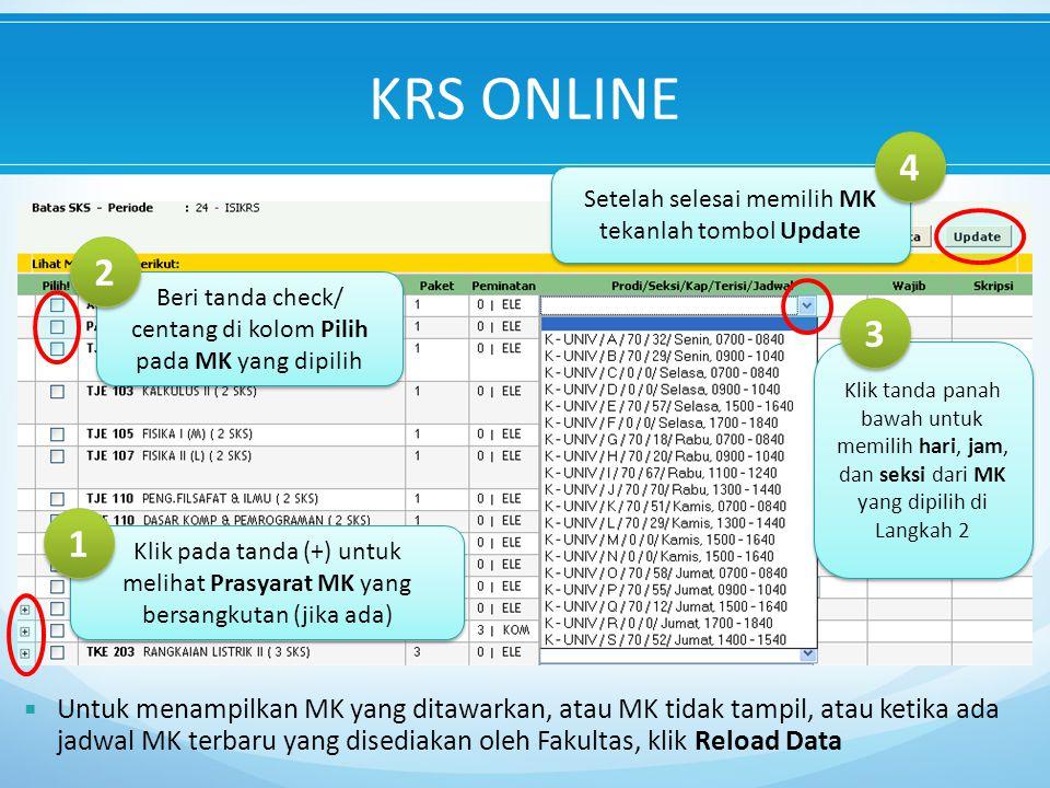KRS ONLINE Setelah selesai memilih MK tekanlah tombol Update. 4. Beri tanda check/ centang di kolom Pilih.