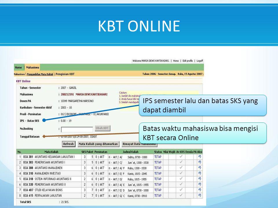 KBT ONLINE IPS semester lalu dan batas SKS yang dapat diambil