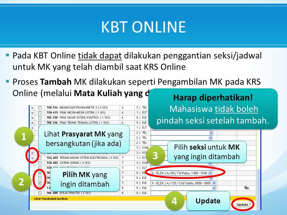 KBT ONLINE Pada KBT Online tidak dapat dilakukan penggantian seksi/jadwal untuk MK yang telah diambil saat KRS Online.