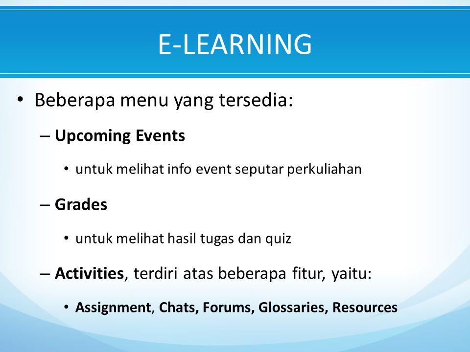 E-LEARNING Beberapa menu yang tersedia: Upcoming Events Grades