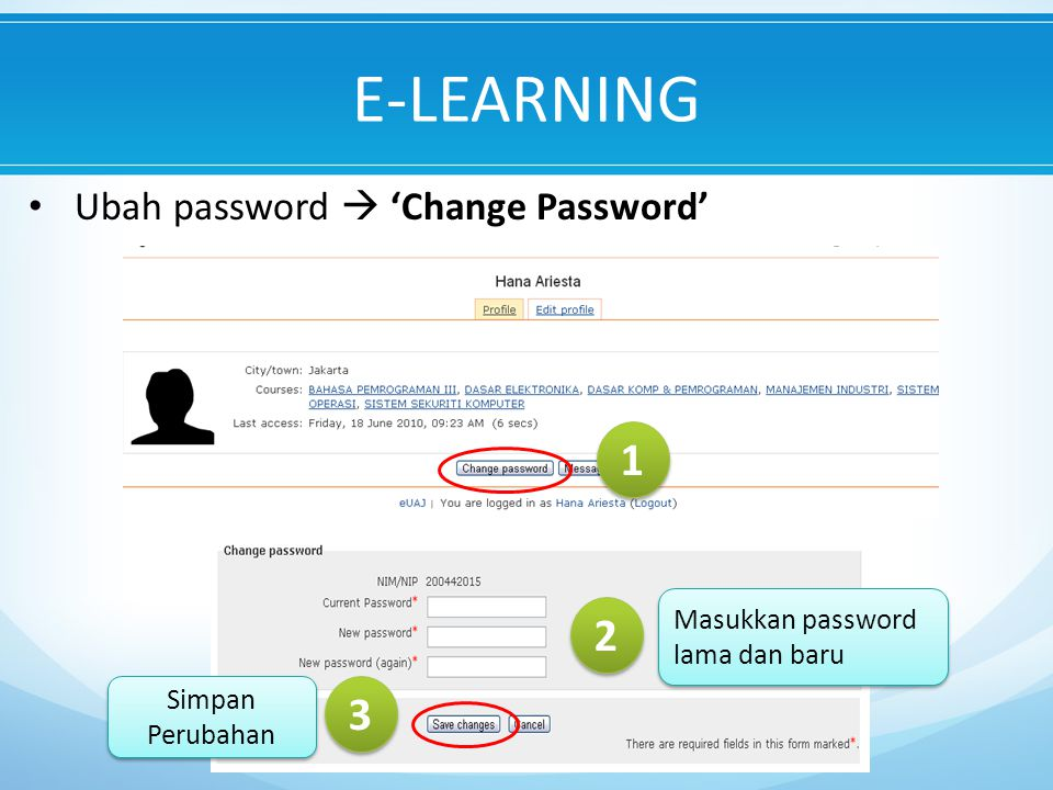 E-LEARNING 1 2 3 Ubah password  'Change Password'