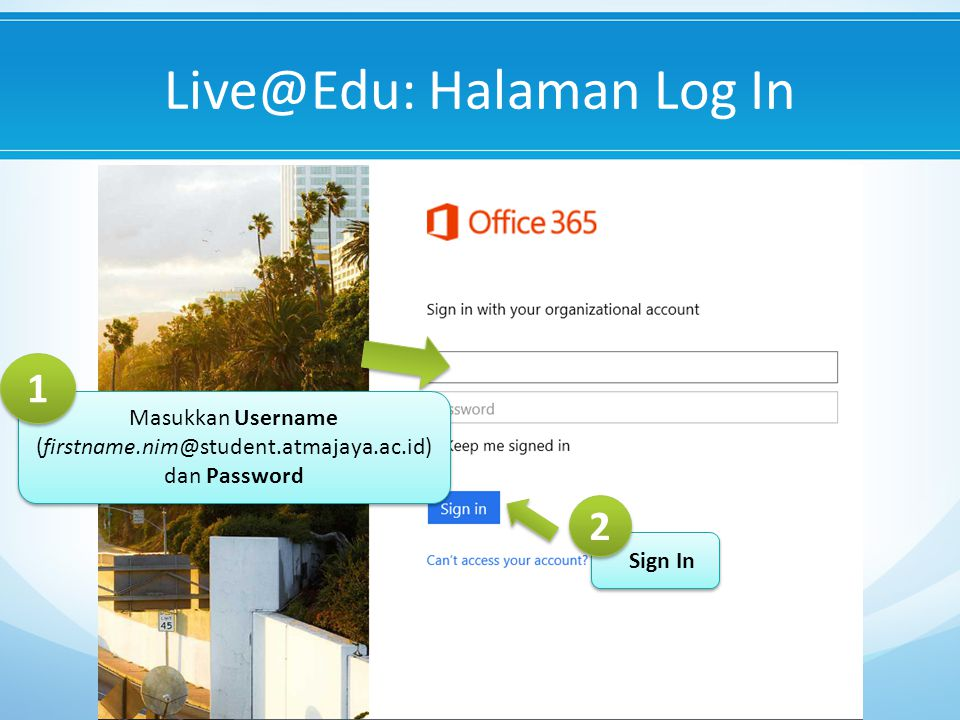 Live@Edu: Halaman Log In