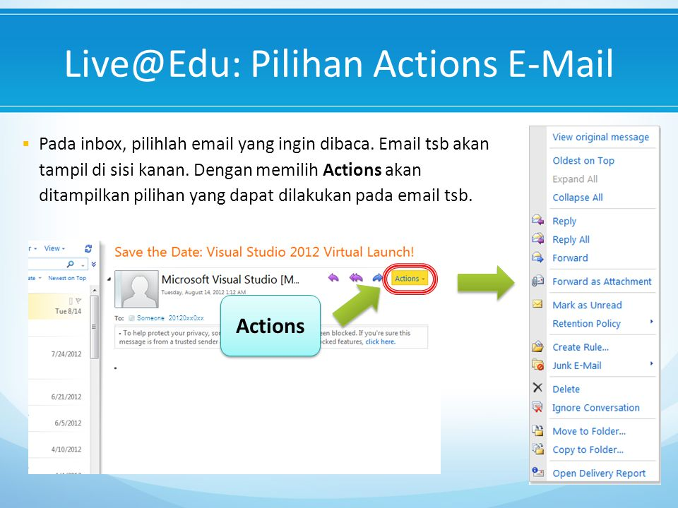 Live@Edu: Pilihan Actions E-Mail