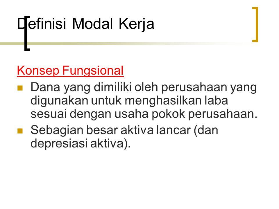 Definisi Modal Kerja Konsep Fungsional