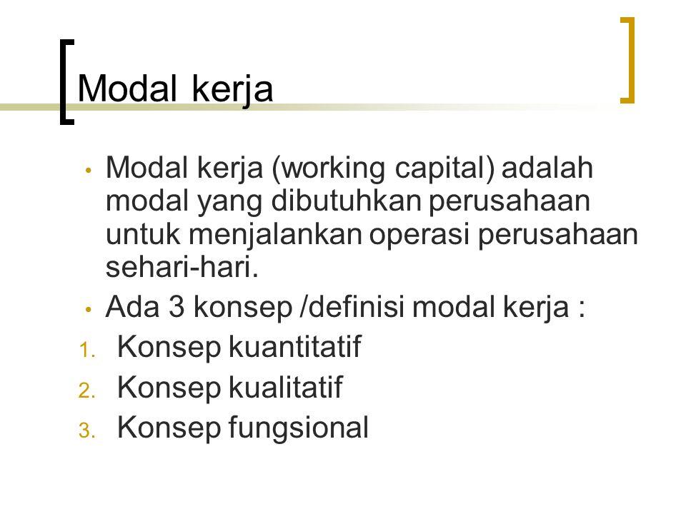 Modal kerja Modal kerja (working capital) adalah modal yang dibutuhkan perusahaan untuk menjalankan operasi perusahaan sehari-hari.