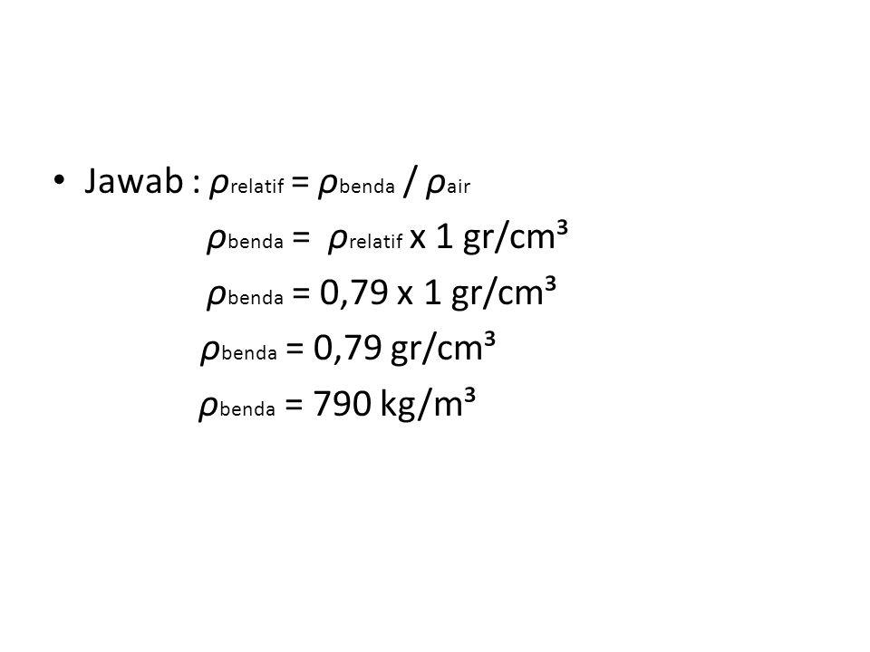 Jawab : ρrelatif = ρbenda / ρair