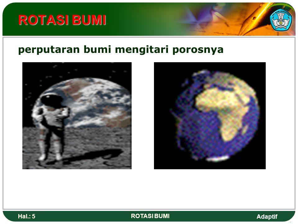 ROTASI BUMI perputaran bumi mengitari porosnya Hal.: 5 ROTASI BUMI