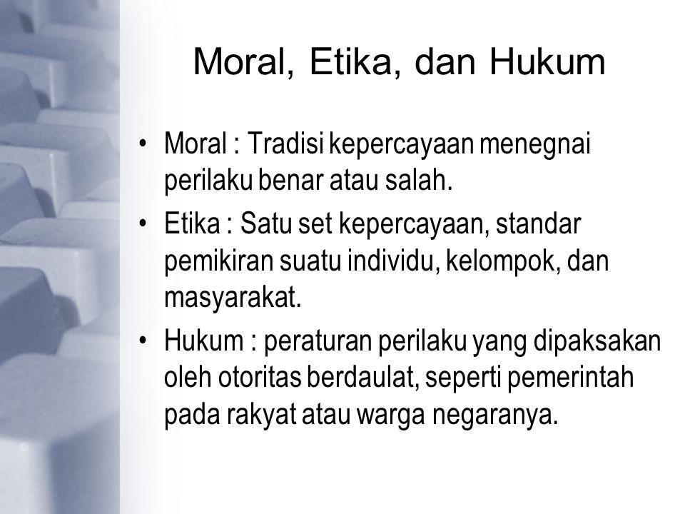 Moral, Etika, dan Hukum Moral : Tradisi kepercayaan menegnai perilaku benar atau salah.